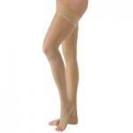 Juzo Dynamic Varin Thigh-High Compression Stockings with Silicone Border, Size 4, Beige, Pair