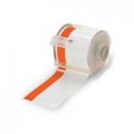 "Brady GlobalMark Industrial Label Maker Vinyl Tape, 4"" with 1"" Stripe x 100', White/Orange"