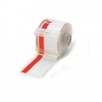 "Brady GlobalMark Industrial Label Maker Vinyl Tape, 4"" with 1"" Stripe x 100', White/Red"