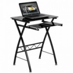 Flash Furniture Black Tempered Glass Computer Desk with Pull-Out Keyboard