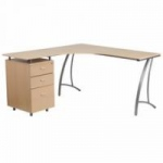 Flash Furniture Beech Laminate L-Shape Computer Desk with Three Drawer Pedestal