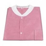 Dynarex Disposable Lab Jacket with Three Pockets, Pink, Small, 30/cs