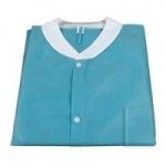 Dynarex Disposable Lab Coat with Three Pockets, Teal, Small, 30/cs