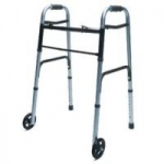 Lumex ColorSelect Adult Walker With Wheels, Blue, Each