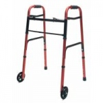 Lumex ColorSelect Adult Walker With Wheels, Red, 2/cs
