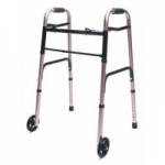 Lumex ColorSelect Adult Walker With Wheels, Pink, 2/cs