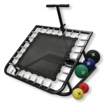 Adjustable Ball Rebounder - Set with Rectangular Rebounder, Vertical Metal Rack, 5-balls (1 each: 2,4,7,11,15 lb)