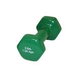 CanDo® vinyl coated dumbbell - 3 lb - Green, each