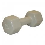 CanDo® vinyl coated dumbbell - 15 lb - Silver, each