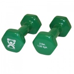 CanDo® vinyl coated dumbbell - 3 lb - Green, pair