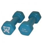 CanDo® vinyl coated dumbbell - 4 lb - Light Blue, pair