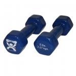 CanDo® vinyl coated dumbbell - 5 lb - Blue, pair