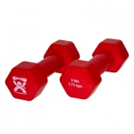 CanDo® vinyl coated dumbbell - 6 lb - Red, pair
