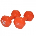 CanDo® vinyl coated dumbbell - 10 lb - Orange, pair