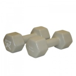 CanDo® vinyl coated dumbbell - 15 lb - Silver, pair