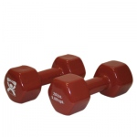 CanDo® vinyl coated dumbbell - 20 lb - Brown, pair