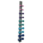 CanDo® vinyl coated dumbbell - 10-piece set with Wall Rack - 2 each 1, 2, 3, 4, 5