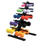 CanDo® vinyl coated dumbbell - 10-piece set with Floor Rack - 2 each 1, 2, 3, 4, 5