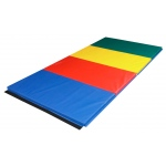 "CanDo® Accordion Mat - 1-3/8"" PE Foam with Cover - 4' x 10' - Rainbow Colors"