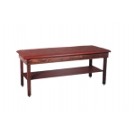 "wooden treatment table - H-brace, shelf, upholstered, 72"" L x 30"" W x 30"" H"