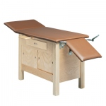 "wooden exam table - enclosures, upholstered, 72"" L x 24"" W x 30"" H, 3-section"