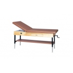 "wooden treatment table - manual hi-low, shelf, drawer, upholstered, 78"" L x 30"" W x 25"" - 33"" H, 2-section"