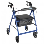 4-wheel Rollator with loop brake, blue, 1 each