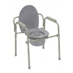 Commode with fixed arms, steel, adjustable height, 1 each
