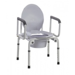 Commode with drop arms, deluxe steel, padded seat, 1 each