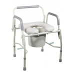 Commode with drop arms, deluxe steel, padded seat, 2 each