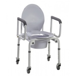 Commode with drop arms, with wheels, aluminum, 1 each