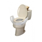 Elevated toilet seat with arms and lock-on bracket