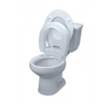 Elevated toilet seat , hinged, elongated