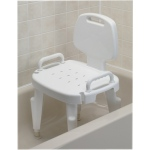 Adjustable shower seat with arms and back