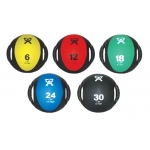 "CanDo® Dual-Handle Medicine Ball - 9"" Diameter - 5-piece set (yellow, red, green, blue, black)"