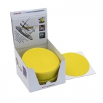 "Dycem® 5.5"" round table mat display, 25/dispenser, yellow"