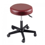 "Pneumatic mobile stool, no back, 18"" - 22"" H, burgundy upholstery"