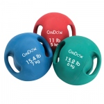 CanDo® Molded Dual Handle Medicine Ball - 5 pc set (Tan, Yellow, Red, Green, Blue)