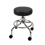 "Mechanical mobile stool, no back, 18"" - 24"" H, black upholstery"