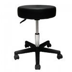 "Pneumatic mobile stool, no back, 18"" - 22"" H, black upholstery"