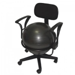 "CanDo® Ball Chair - Metal - Mobile - with Back - with Arms - with 18"" Ball"