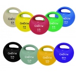 CanDo® One Handle Medicine Ball - 5 pc set (Tan, Yellow, Red, Green, Blue)